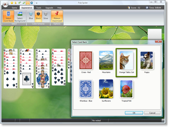 Free Spider Solitaire - Select Card Back - Click to enlarge